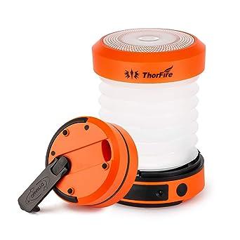 ThorFire Luces de Camping, Plegable LED Camping manivela de Mano USB Recargable Tienda de campaña