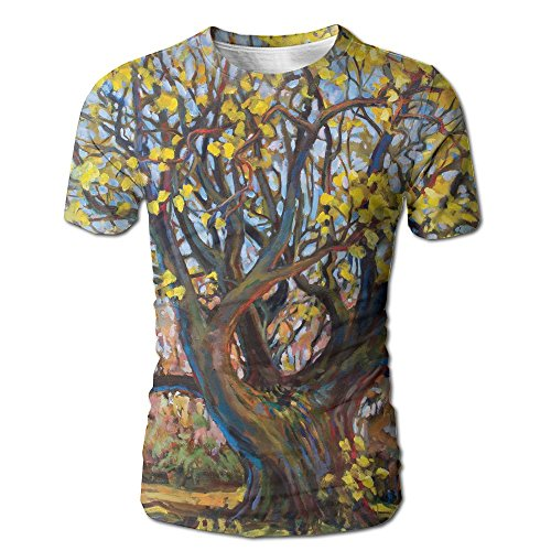 Creative Leaves Wallpaper (Samilaim Men's Trees With Yellow Leaves Paint 3D Creative Design Casual Tshirts Tops Crewneck Short Sleeve T-Shirt Tee)