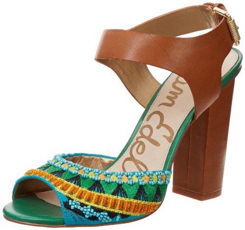 Sam Edelman Women's Yuri Ankle-Strap Sandal,Saddle/Green,8 M US