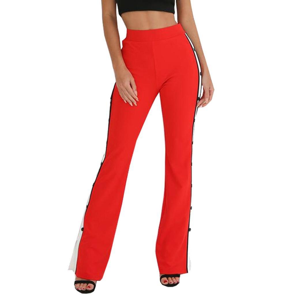vermers Fashion Women's Trousers Womens Cut Off Rivet Button Striped Split Side Wide Leg Pants(XL, Red)