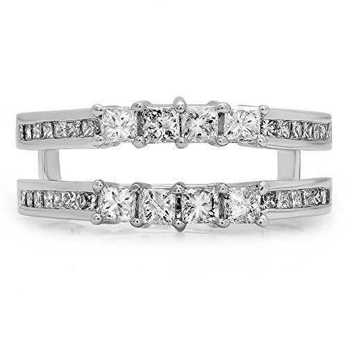 0.90 Carat (ctw) 10K White Gold Princess White Diamond Ladies Wedding Guard Double Ring (Size 7) by DazzlingRock Collection (Image #3)