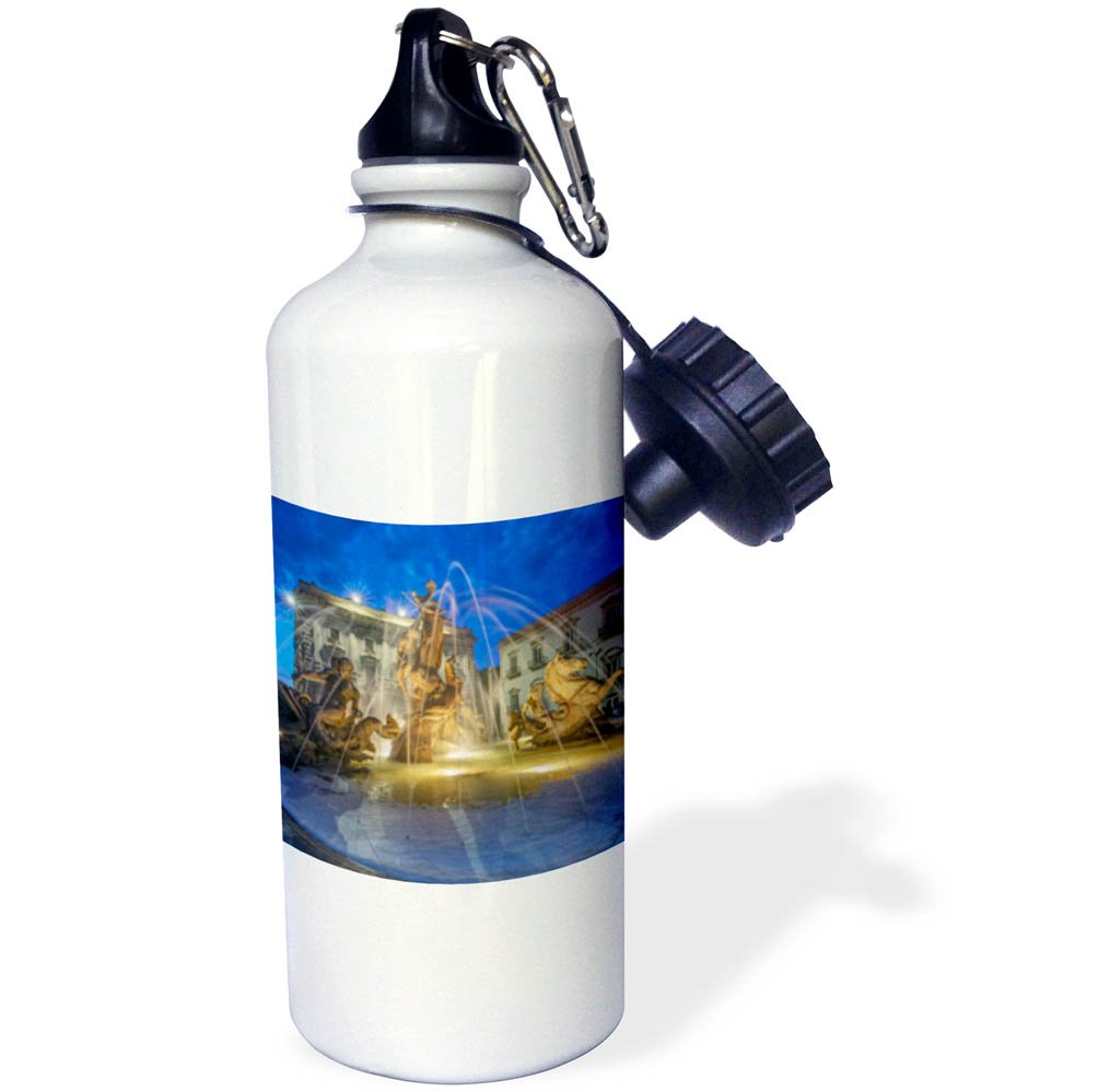 3dRose Danita Delimont - Fountains - Europe, Italy, Sicily, Syracuse, Twilight Piazza Archimede - 21 oz Sports Water Bottle (wb_277639_1)