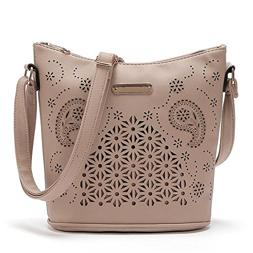 Price comparison product image Simayixx Hot Sale Hollow Out Handbags Cross Body Leather Shoulder Bags Purse Small Casual Messenger Bags for Women (Khak)