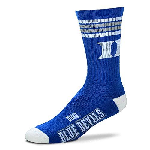 For Bare Feet Mens NCAA 4 Stripe Deuce Crew Socks, Duke Blue Devils, Medium (5-10)
