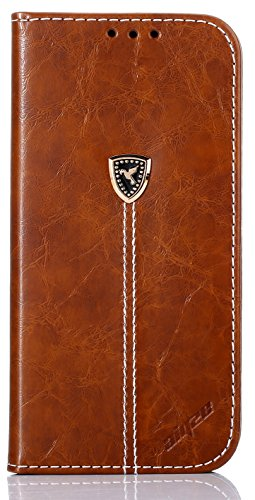 Aiyze Samsung Galaxy J1 2016 Case / Express 3 / J120A / Luna / Amp 2 , Magnetic Thin PU Leather Cell Phone Wallet Cover Built Credit Card Holder Kickstand Skin Full Body Notebook Style Sleeve Brown (Luma Wallet)