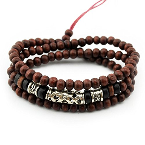 MORE FUN Charm Wooden Beads Multi-layer Bangle Cuff Alloy Tube Adjustable Beaded Bracelet
