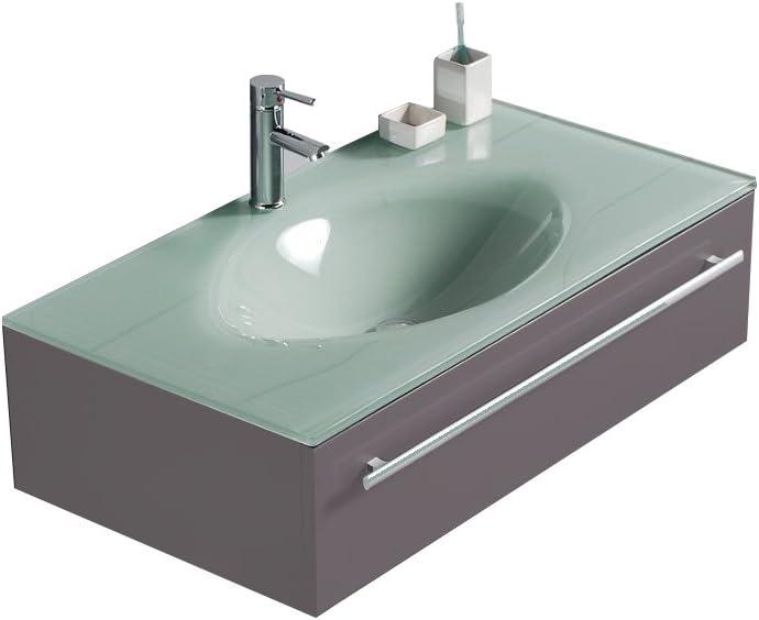 36 Modern Gray Bathroom Vanity with Glass Sink top Back Splash