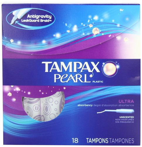 Tampons, Ultra Absorbency, Unscented, 18 Count (Tampax Pearl Plastic Tampons)