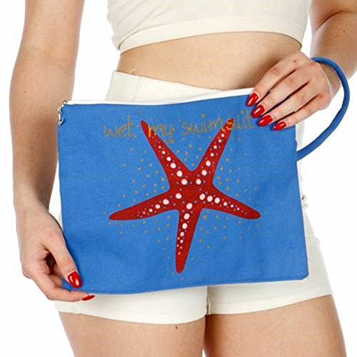 Knitting Factory Water Proof Cotton Wet Bikini Bag Star Fish Selection (Blue) (Cotton Tote Shoreline)