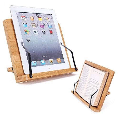 - Desktop Book Stands Cookbook Holder Books Rest Reading Stands Tablet Holder Foldable Tray Page Paper Clips Portable Bamboo Bookstand for Books iPad Laptop Textbook Recipe Document Music Piano (Flat)