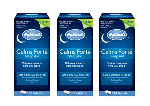 Hyland's Calms Forte' Sleep Aid Tablets, Natural Relief of Nervous Tension and Occasional Sleeplessness, 100 Tablets (Pack of 3)