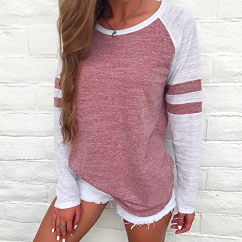 OverDose Color Chemisiers Rose Block Longues Tops Blouse Manches Femme Rayures Casual shirt Hiver T OI1qzBUB