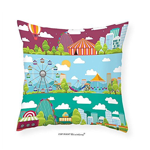 VROSELV Custom Cotton Linen Pillowcase Circus Decor Conceptual City Banners With Carousels Slides And Swings Ferris Wheel Attraction Bedroom Living Room Dorm Decor 14