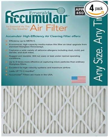 Accumulair Emerald MERV 6 Air Filter//Furnace Filters 4 pack