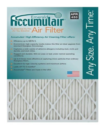 Accumulair Emerald 12x26x1 (11.5 x 25.5) MERV 6 Air Filter/Furnace Filters (4 pack)