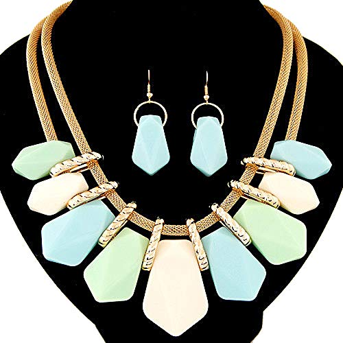 Wcysin Crystal Fashion Large Stones Necklace and Stud