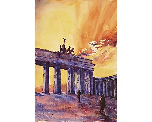 Watercolor painting of silhouette of Brandenburg Gate at sunset in the city of Berlin- Germany, Europe by Ryan Fox Fine Art