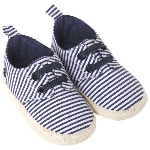 JoJo Maman Bébé D2207NES612 - Alpargatas bebé, rayas, azul marino / de color crudo