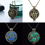 by lucky luminous Steampunk Cute Magic Fairy Locket Glow In The Dark Pendant Necklace (blue)