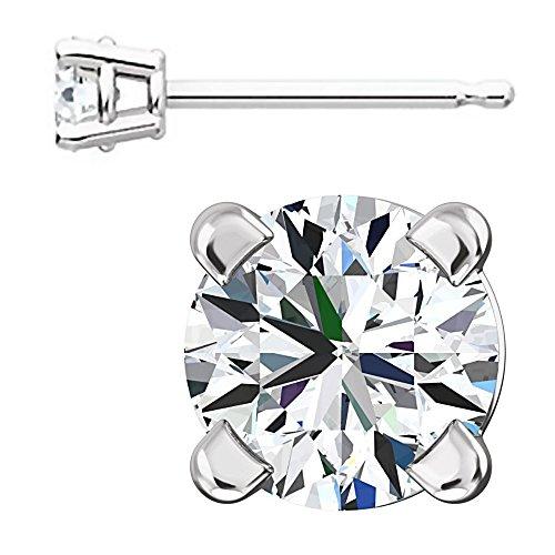 1000 Jewels Sterling Silver 3mm Brilliant Cut Ice on Fire CZ Stud Earrings]()