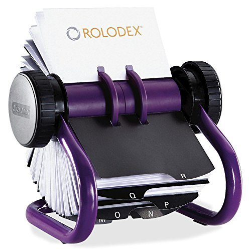 "Index & Business Card Files ,Index Card Filing ,Filing Products ,Rolodex Open Rotary Business Card File with 200 2-5/8"" X 4""cards, Purple"