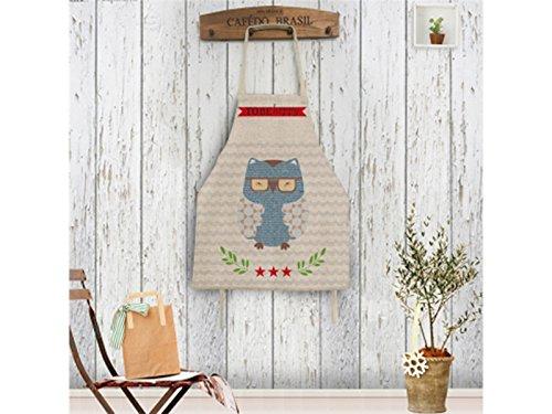 Gelaiken Perfect Cotton Linen Cartoon Owl Printed Letter Apron Hanging Neck Animal Sleeveless Unisex Apron by Gelaiken