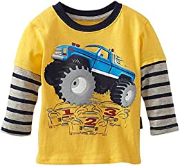 Baby Boys Orange Stripes Long Sleeve T-Shirt Cotton 15Months-6Y  6-7T height120-130cm 46-50inch   Yellow