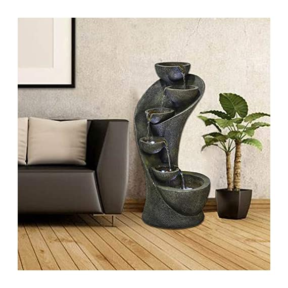 chillscreamni Outdoor Garden Fountain - 23.6in Outside Fountains and Waterfalls with 6 Bowls Curved Design for Indoor&Oudoor Decor | Portable Home Fountain with LED Lights for Garden, Patio, Backyard - Material: Made from resin with fiberglass, the weatherproof water fountain is very durable and ightweigh. It can be placed indoor or outdoor easily. Design: Special curved shape with 6 bowls, decor with LED lights in each bowl, vintage yet modern, the indoor-outdoor fountain is ideal for decor in garden, patio, backyard, pool, entryway, stairs-side,etc Sounds: The relaxation water fountain is a natural noise reduction product. The sound of the water flows will help to reduce the unwanted&unpleasant noise, while gives the soothing effect and makes you feel calm. - patio, outdoor-decor, fountains - 51e VdWqkJL. SS570  -