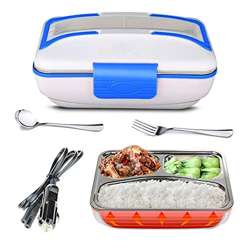 LOHOME Electric Heating Lunch Box - Insulated Car Lunch Box Bento Meal Heater Food Warmer Stainless Steel Portable Lunch Containers with Car Charging Function (Blue.)