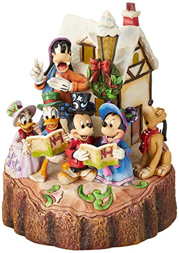 """Disney Traditions by Jim Shore Mickey and Friends Caroling Light-Up Stone Resin Figurine, 7.25"""""""