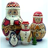 BuyRussianGifts Santa Snowmaiden Snowman Penguin Xmas tree nesting doll Hand crved Hand painted 5 piece matryoshka set