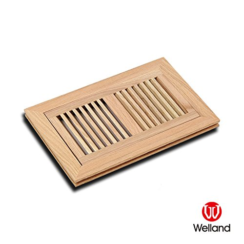 WELLAND 6 Inch x 12 Inch Red Oak Hardwood Vent Floor Register Flush Mount, Unfinished (Wall Unfinished Oak)