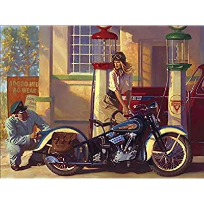 Adult Puzzle 1000 Piece Classic Jigsaw Puzzle Children Puzzle Wooden Puzzle DIY Master Helps Girl Repair Motorcycle Modern Festival Gift Home Decor Unique Gift Intellectual Game Wall Art 75x50cm: Toys & Games