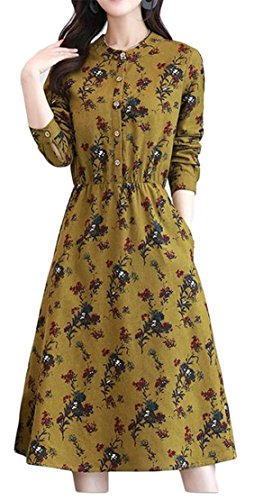 Pleated Button Casual Printed Swing Style Floral Womens Yellow Ethnic Cromoncent Dress I8T5pqn