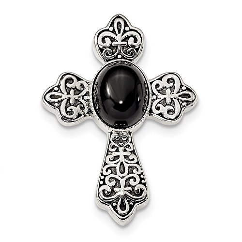 (Mia Diamonds Solid 925 Sterling Silver Antiqued Black Onyx Cabochon Cross Chain Slide)