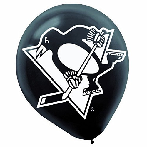 Amscan Sports and Tailgating NHL Party Pittsburgh Penguins Printed Latex Balloons Decoration, Black and White,12