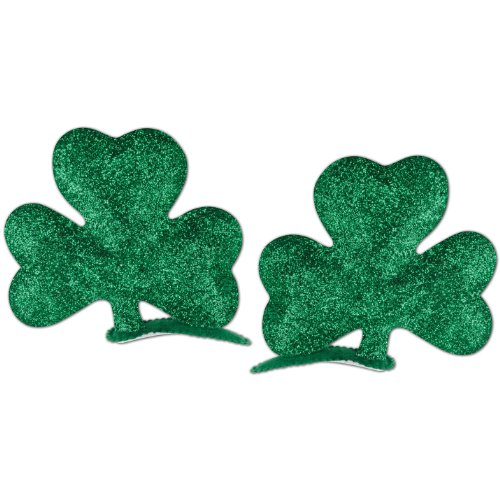 Glittered Shamrock Hair Clips (2/Pkg), Green, -