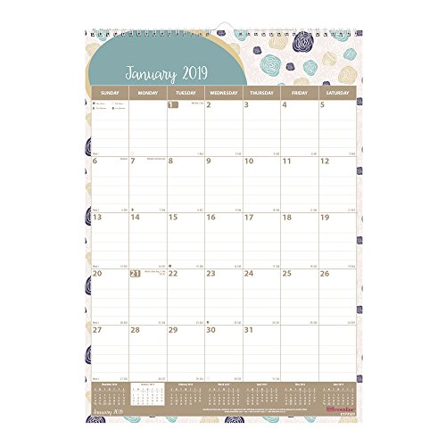 Brownline Monthly Wall Calendar, Bilingual, 12 x 17 inches, Begonia (C173123-19) by Brownline