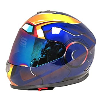 Iron Man Dot motocicleta bicicleta de doble visera Full Face casco Golden azul, tamaño pequeño