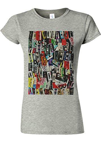 Retro Cassettes Music Novelty Sports Grey Women T Shirt Top-XXL