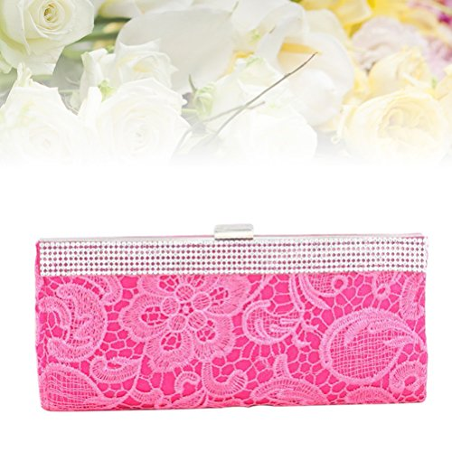 Lace Handbag Party Evening Women Wallet FENICAL Party Rose Rhinestone Clutch Purse Red Flower Wedding AP5qw1x