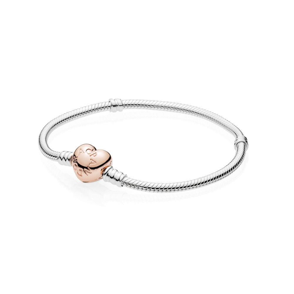 PANDORA Sterling Silver Bracelet w Rose Gold Heart Clasp, 580719-18