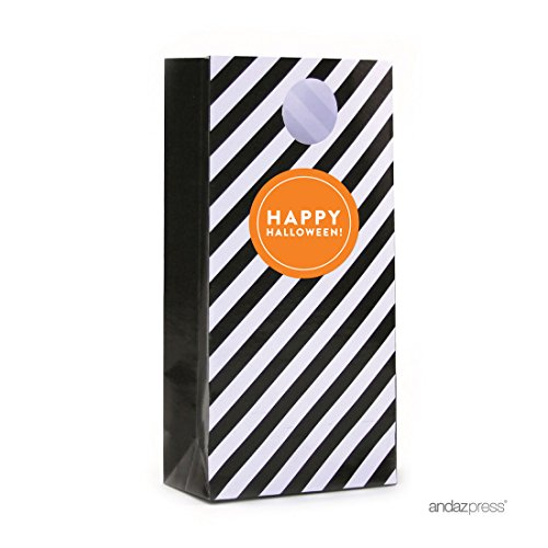 Andaz Press Party Favors Kit with Treat Bags and Labels, Happy Halloween!, Orange Label with Black Bag, (Disney Halloween Treat Part 4)