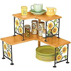 Collections Etc Two Tierd Sunflower Wood and Metal Double Corner Shelves