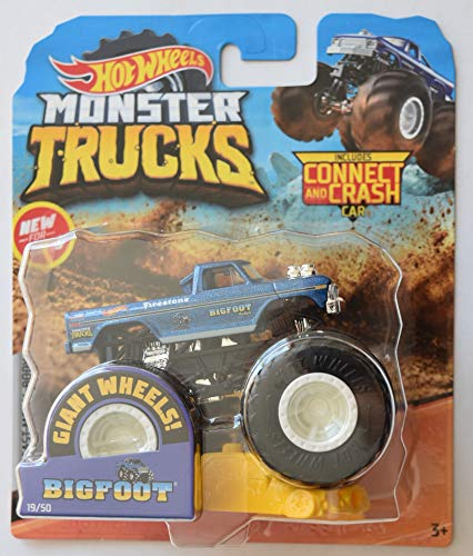 Hot Wheels Monster Jam 1:64 Scale Bigfoot 19/50 Giant Wheels Includes Connect and Crash car (Hot Wheels Monster Jam Trucks 1 64)