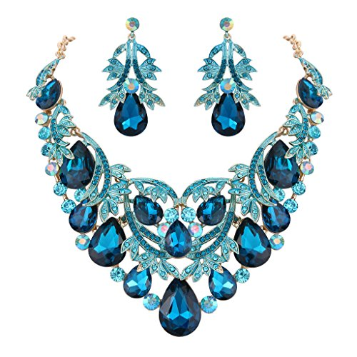 BriLove Women's Bohemian Boho Statement Necklace Dangle Earrings Jewelry Set Crystal Teardrop Filigree Leaf Hollow Design Turquoise Color Gold-Toned