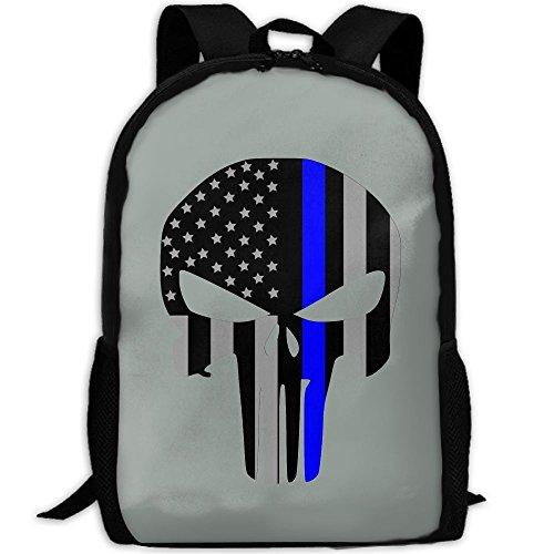 Backpack, Travel Hiking Waterproof Big Student College High School Shoulder Outdoor Canvas Backpack, Thin Blue Line Punisher Grey, Shoulder Bag Backpacks For Men Women Adults