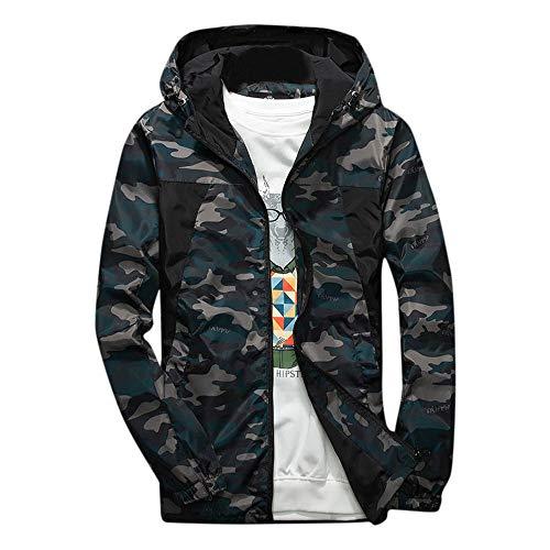 Sunhusing Men's Camouflage Stitching Print Pocket Hooded Soft Shell Jacket Outdoor Waterproof Windproof Coat