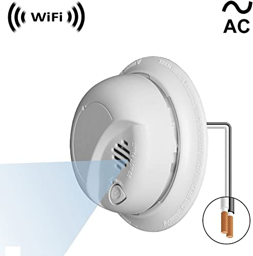 WF-404VAC Sony 1080p IMX323 Chip Super Low Light Spy Camera with WiFi Digital IP Signal, Recording Remote Internet Access, Camera Hidden in a Fake Smoke Detector 110V 220VAC Wall Mount Model