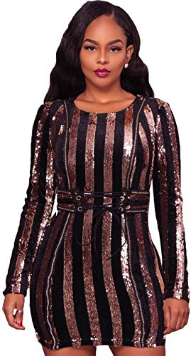 Striped Sequins Mini Dress Sexy Women Eyelet Lace-up Girdle Bodycon Dress O-Neck Long Sleeves Empire Waist Party Dress DQ220255GO-L ()